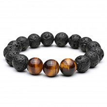 Bratara Lava Rock si Tiger Eye