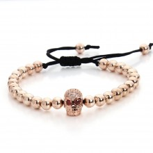 Bratara Rose Gold Skull Zircon