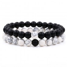 Bratari set cuplu Yin Yang Black White