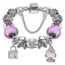 Bratara Charm Hello Kitty Pink