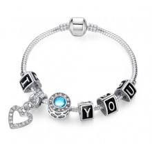 Bratara Charm Silver Blue I Love You