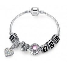 Bratara Charm Silver Pink I Love You