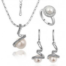 Set Pearls Spiral Colier Cercei si Inel