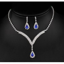 Set Colier si Cercei Sapphire Lady Crystals