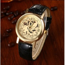 Ceas Quartz Gold Black Classic Skeleton