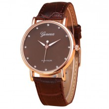 Ceas Geneva Quartz Brown Platinum